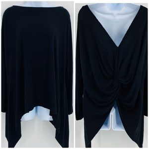 1.State Back Twisted Asymmetrical Black Top M